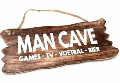 Tekst bord : Mancave hout