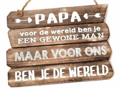 Tekst bord: Papa wereld