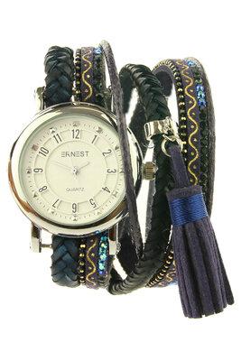 """Ernest horloge/armband """"Braidys"""" donkerblauw"""