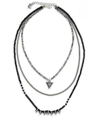 Choker necklace Zwart-zilver