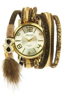 "Ernest horloge/armband ""Goldien"" choco"