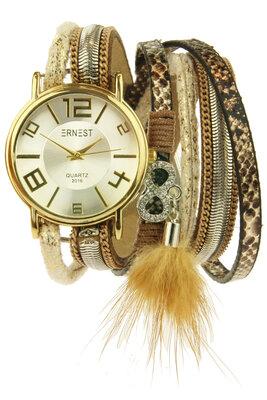 """Ernest horloge/armband """"Goldien"""" beige"""