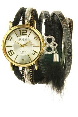 "Ernest horloge/armband ""Goldien"" zwart"