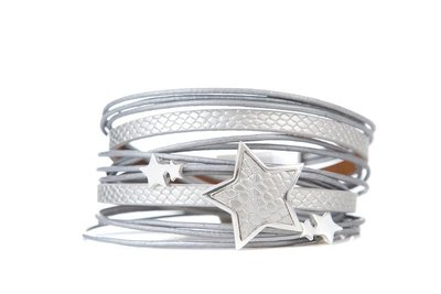 Armband star grijs