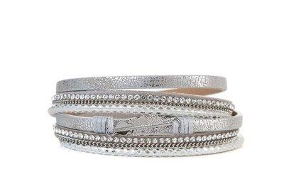 Armband feather grijs zilver