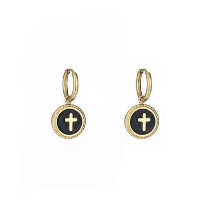 Stainless steel oorbellen kruis zwart rond