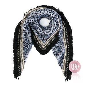 Leopard sjaal grijs