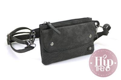 Zwart heuptasje en schoudertasje