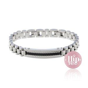 Stalen verstelbare armband zwart/zilver