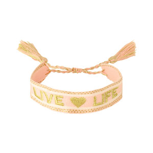 Armband live life beige roze