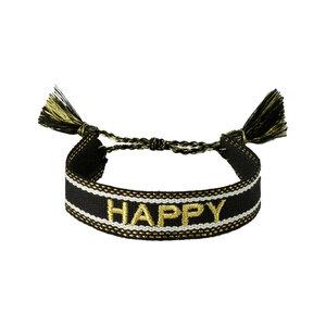 Armband happy zwart