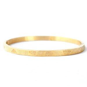 Stainless steel armband tropical leaf goud kleurig